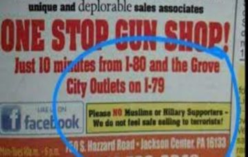 US gun store's ad says won't sell to Muslims, Clinton backers