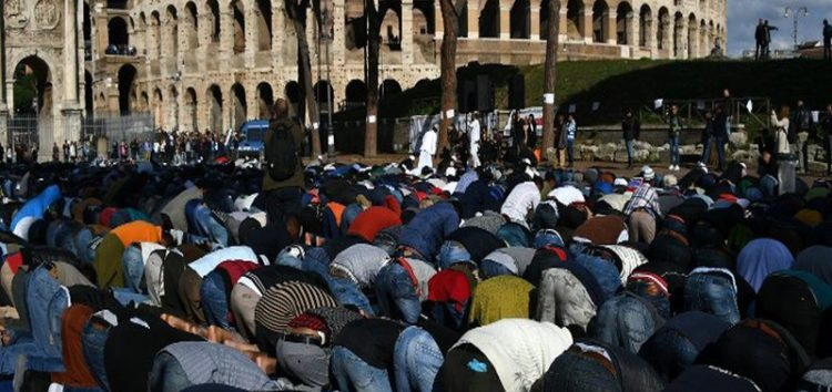 Muslims stage protest prayers near Rome's Colosseum