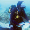 Picking up the easel underwater