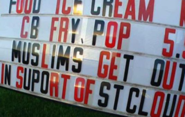 Restaurant owner displays 'Muslims get out' sign
