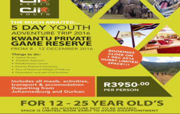 Kwantu Private Game Reserve – 5 day Youth adventure trip 2016