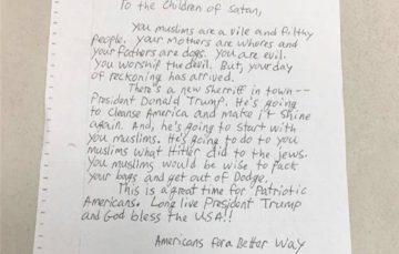 'Hateful letters' sent to California Muslims
