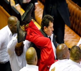 The world watches as a brawl erupts in South Africa's parliament during president's speech #SONA2017