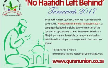No Haafidh left behind!! Taraweeh Placement Initiative #Ramadaan2017