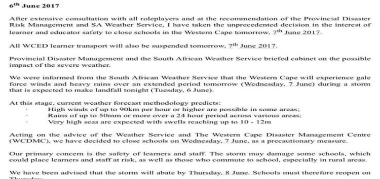Western Cape schools to be closed on Wednesday following extreme weather warnings