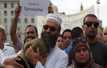 Thousands of Muslims march against terrorism in Barcelona following van attack