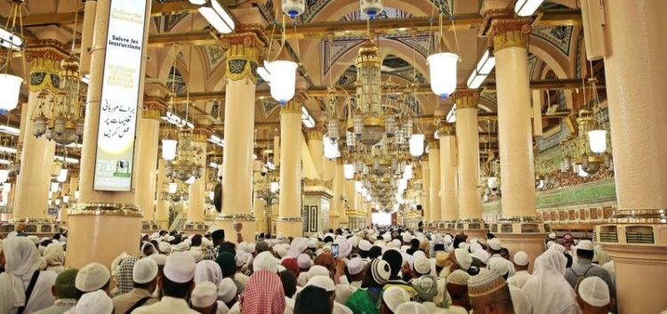Signboards in five languages installed in Masjid un Nabawi, Madinah