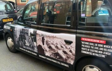 Banned anti-Balfour ad campaign run on London's black cabs