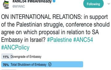 ANC Poll finds 75% support for downgrade of SA Embassy in Israel