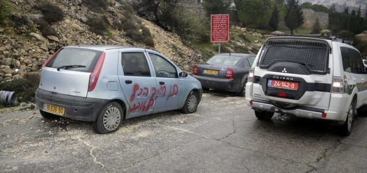 Israeli settlers vandalise Palestinian's cars with 'racist slogans'