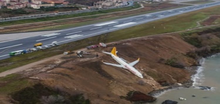 Passenger plane skids off runway and dangles off cliff