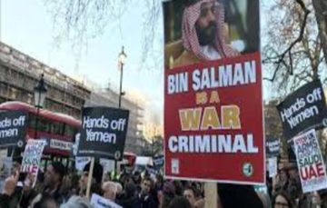 Protestors react to visit by Saudi Crown Prince's UK visit