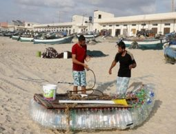 Gaza fisherman battles poverty with plastic bottle boat