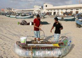 Gaza fisherman battles poverty with plastic bottle boat