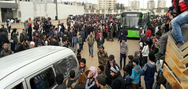 Syria families evacuated from unsafe homes in Aleppo