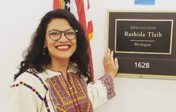 US Congresswoman Tlaib wears Palestinian dress to Trump's speech