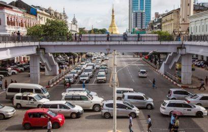 Roads blocked in Yangon Myanmar