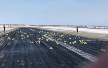 Russian runway scattered with gold bars after plane loses cargo