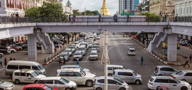 Roads blocked in Yangon Myanmar